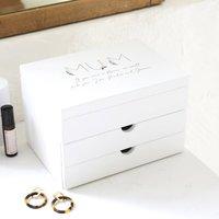 Personalised 'Mum' White Jewellery Box With Drawers