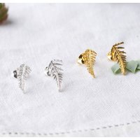 Silver Fern Earrings, Silver