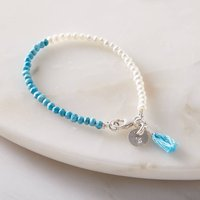 Personalised Mini Pearl And Turquoise Bracelet