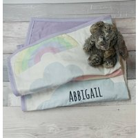 Personalised Baby Gift Clouds And Rainbows Quilt