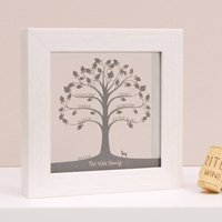 Personalised Mini Traditional Family Tree Papercut, White/Black