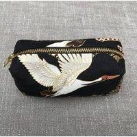 Japanese Art Deco Crane Cotton Zip Pouch