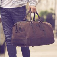Brown Waxed Canvas And Leather Travel Holdall