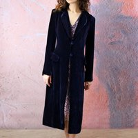 Silk Velvet 1940s Style Coat In Midnight Blue