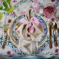 Pair Of Softest French Linen, Natural Fringed Napkins