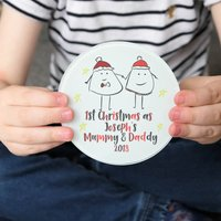 First Christmas As Mummy And Daddy Personalised Coaster