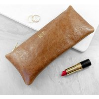 Personalised Tan Leather Soft Clutch Bag Gift