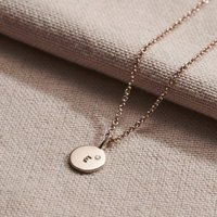 9ct Gold Mini Disc Initial Birthstone Necklace, Gold