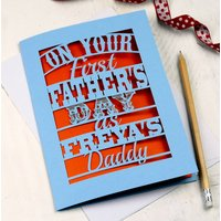 Personalised Papercut First Father's Day Card, Cream/Gold/Silver