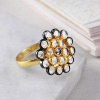 Genuine Herkimer Diamond April Birthstone Gold Ring, Gold