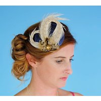 Navy And Gold Woodland Fascinator, Strawberry/Black