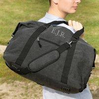 Personalised Black Canvas Overnight Bag
