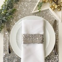 Christmas Silver Sequin Table Runner