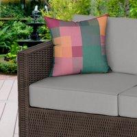 Floral Tones Pixels Water Resistant Outdoor Cushion