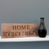 Contemporary Engraved Oak Co Ordinate Sign