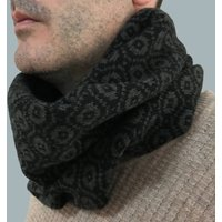 Mens Knitted Lambswool Snood, Black/Charcoal/Green