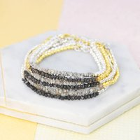 Single Gold/Silver Rough Diamond Birthstone Bracelet, Silver