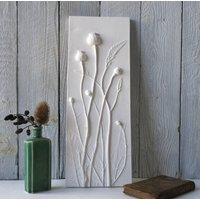 Poppies And Crocosmia Plaster Cast Wall Plaque