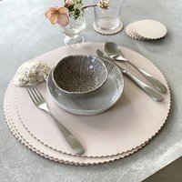 Scalloped Recycled Large Leather Placemats X Six