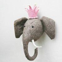 Felt Elephant Wall Head