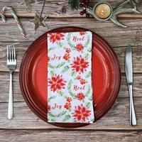 Poinsettia Christmas Cotton Fabric Napkins