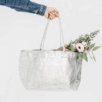Silver Soft Leather Tote Shopper