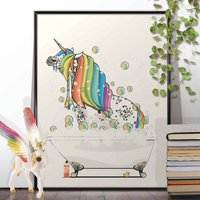 Unicorn With Rainbow Hair In The Bath