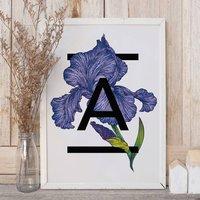 Personalised Alphabet Initial Iris Flower Print