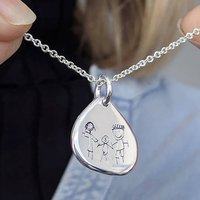 Personalised Childs Drawing Silver Droplet Necklace, Silver