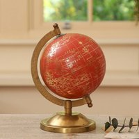 Luxury Coral Red And Gold Desk Globe