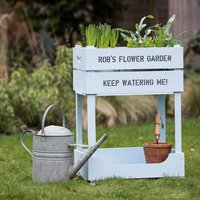 Personalised Raised Garden Planter, Silver/Ivory/Pink