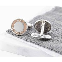 Silver And Rose Gold Initials And Date Cufflinks, Silver