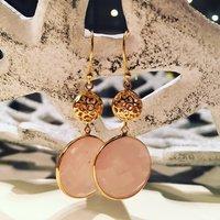 Rose Quartz Earrings Gold Drop Earrings, Gold