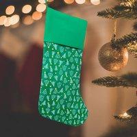 Traditional Christmas Stocking Green Tree