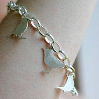 Handmade Silver Bird Lovers Charm Bracelet, Silver