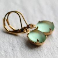 Frosted Apple Green Earrings Oval