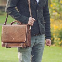 Mens Luxury Leather Satchel. 'The Battista', Chestnut/Tan/Dark Chocolate
