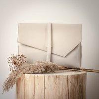 Maidan Stone White Soft Leather Clutch Bag