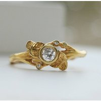 9ct Gold Leaf And Vine Diamond Ring, Gold