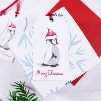 Santa Hat Penguin Christmas Gift Tag