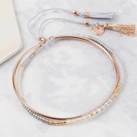 Layered Bangle And Beaded Bracelet With Tassels