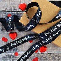 Valentine's 25mm Personalised Printed Ribbon, White/Cream/Lilac