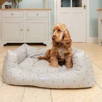 Grey Stars And Stripe Boxy Dog Bed