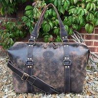 Vintage Leather Holdall, Travel Bag, Weekender