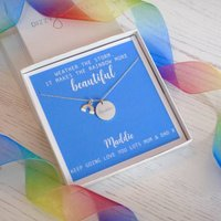 Personalised Sterling Silver Rainbow Necklace, Silver