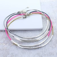 Single Noodle Leather Necklace, Black/Pink/White