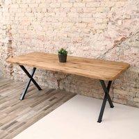 Battersea X Shaped Legs Industrial Oak Dining Table