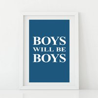 Boys Will Be Boys Print, Red/Pink/Blue
