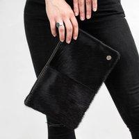 Natural Cowhide Clutch Bag In Black