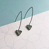 Geometric Drop Earrings In Oxidised Silver, Silver